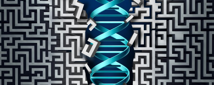 Cartoon of a DNA helix pushing through a maze